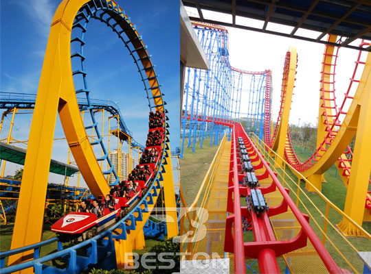 Large 3-loop Roller coaster thrill rides for sale